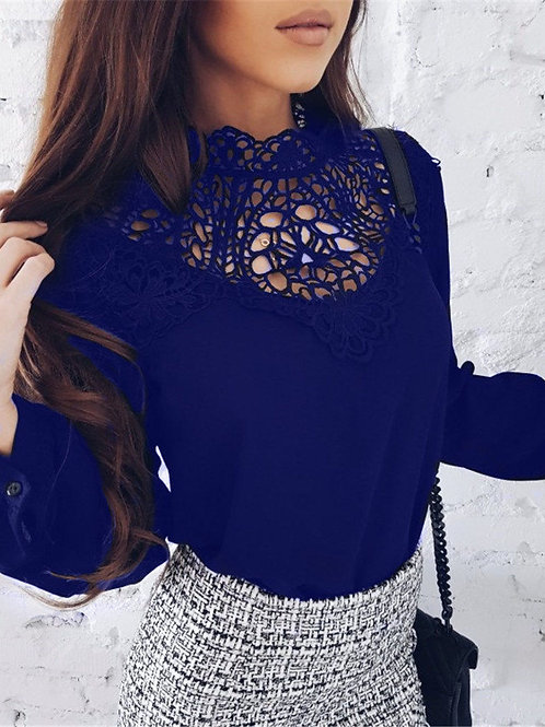 Coral Blue Lace Blouse