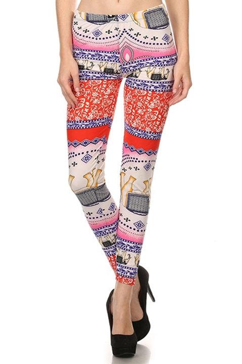 Printed, long leggings with high waist