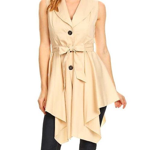 Buttoned Sleeveless Jacket