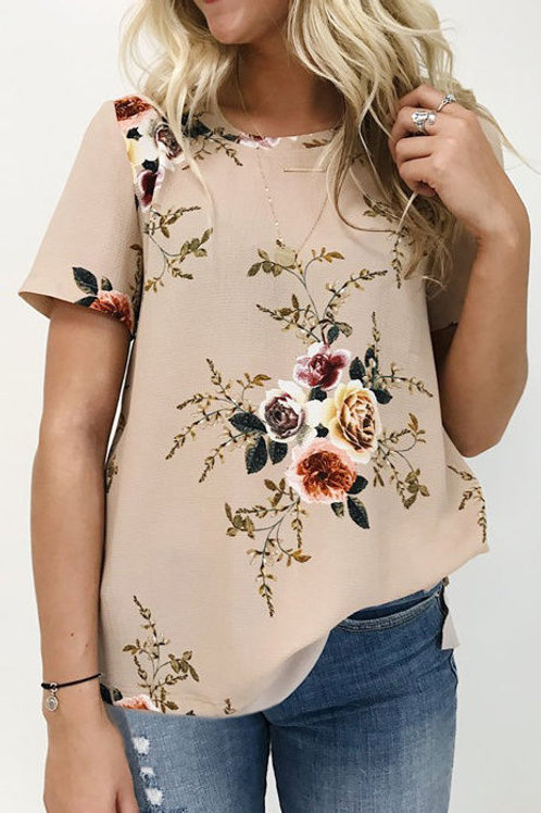 Chiffon Flower Print T-Shirt