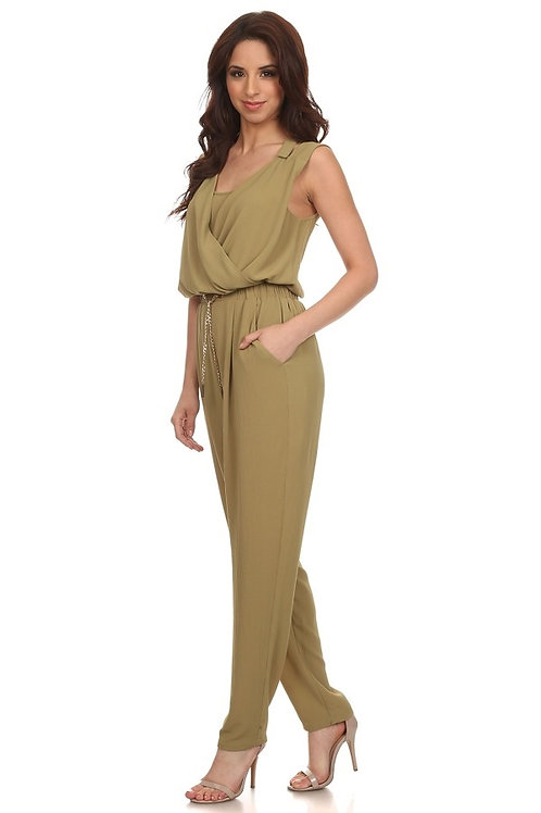 Chain Trim Surplice Jumpsuit