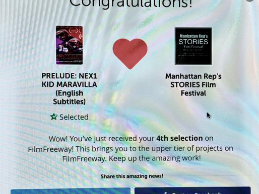 4th Straight Film Festival Selection for Prelude: Nex1 Kid Maravilla at Manhattan Rep's STORIES Film