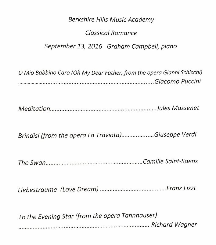 Photo of Graham's program from his BHMA performance.