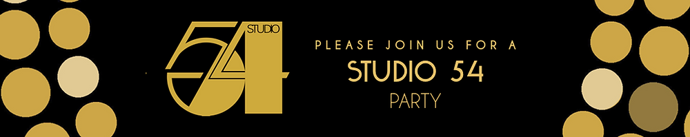 """Black background with gold lettering and design; features Studio 54 gold logo and the text """"Please join us for a Stdio 54 Party."""""""