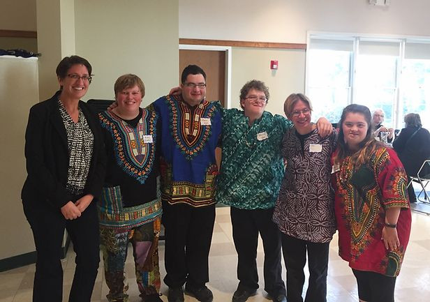 Image of Carrie Brown, Aidan Owens, Marco DiSantis, Mark Palardy, Emily Webster, and Emma Pignone posing together at the African Drumming conference in Albany, New York.