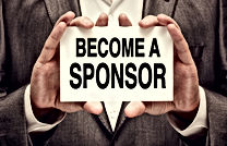 hands holding a card that reads BECOME A SPONSOR - Links to WHUT sponsorship page