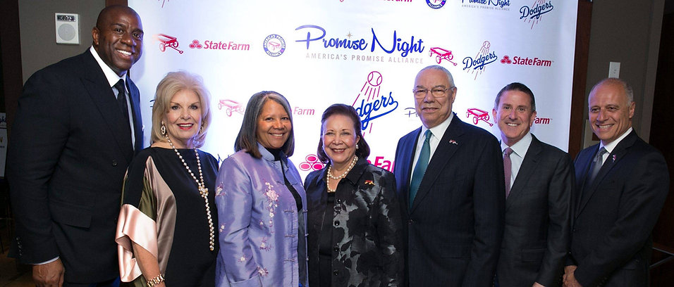 Photo From left, Magic Johnson, Patricia de Stacy Harrison, Dr. Angela Diaz, Alma Powell, Colin Powell, Brian Cornell and John Gomperts at the Promise Night Gala, April 20, 2016 (Credit: Michael Bennett Kress Photography)
