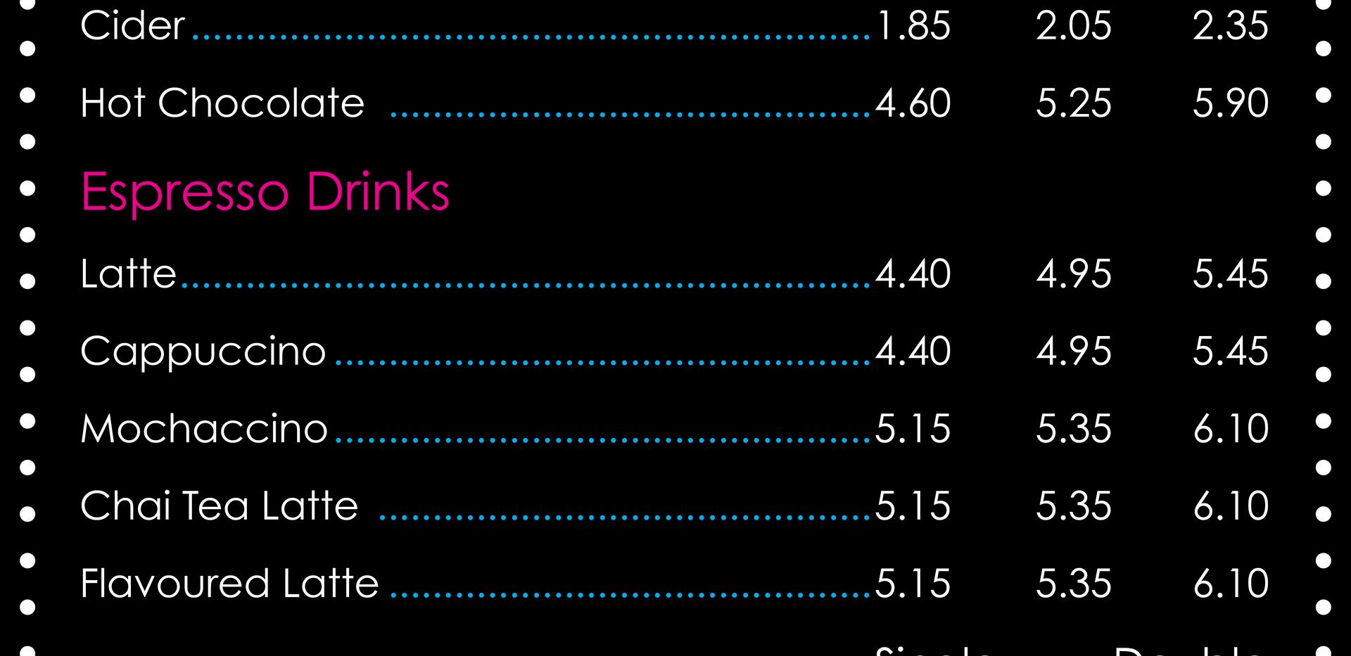 Hot Drink Menu