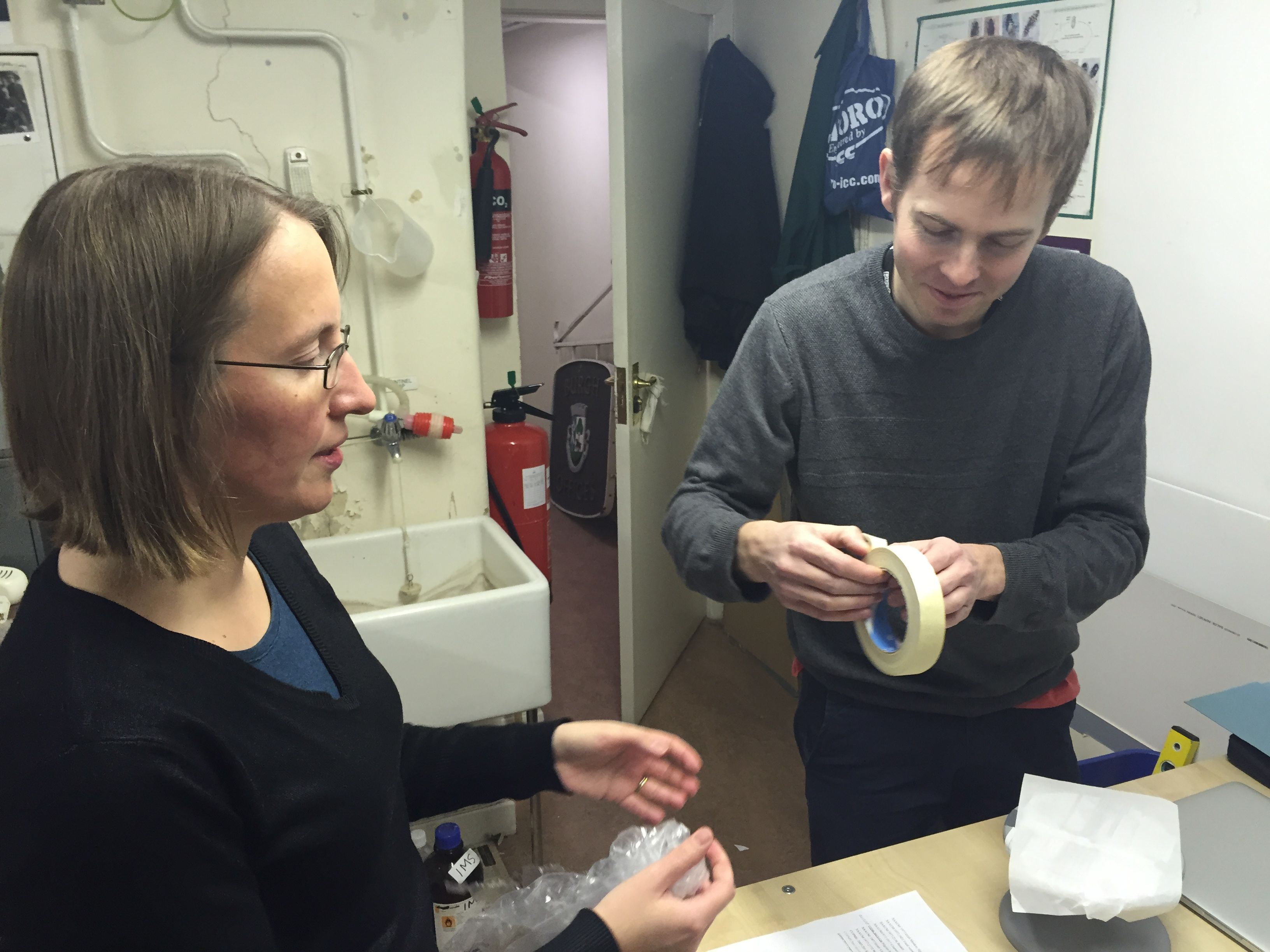 Jane (curator) assists Rob