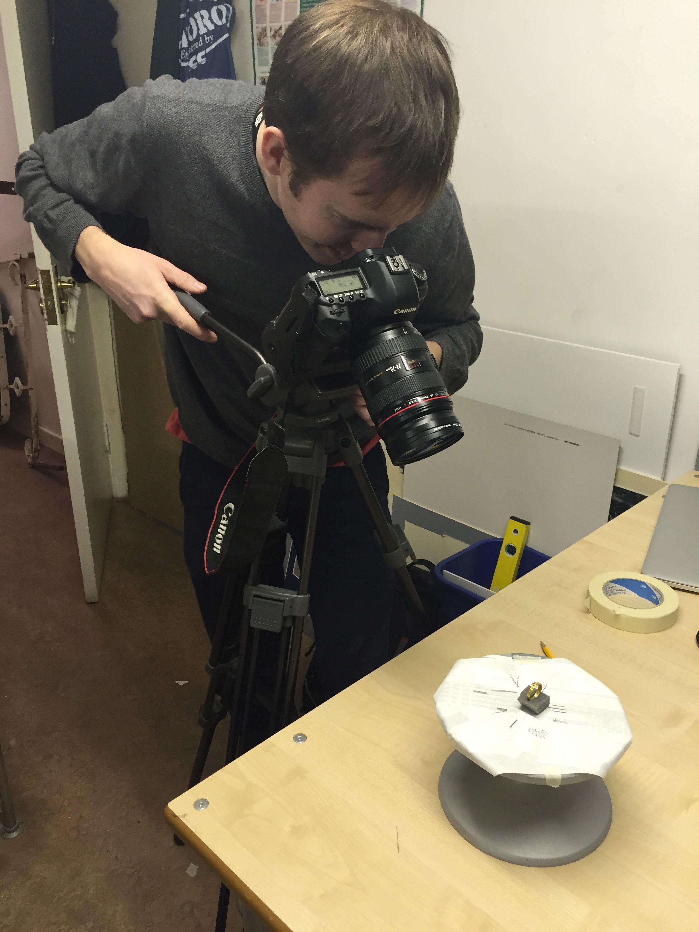 Rob photographs an object