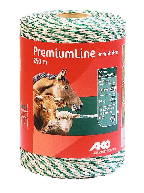 Cordón blanco/verde 6x0,25 - 250m P.Line