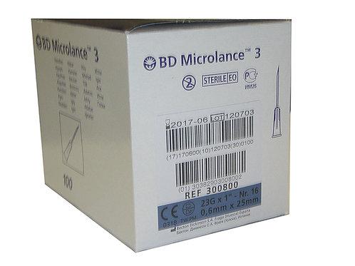 Aguja hipodermica 0,6 x 25mm azul 100Uds