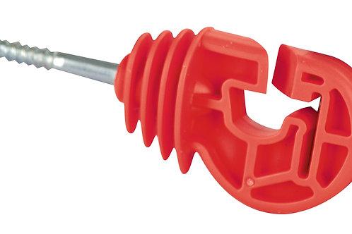 Aislador rojo, rosca/madera, cordón/cinta 20mm 25ud