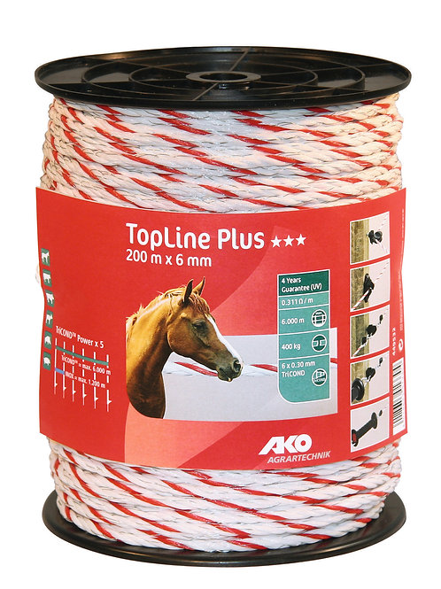 Cordón blanco/rojo 6 x 0.30 tricon. 200m Top Line