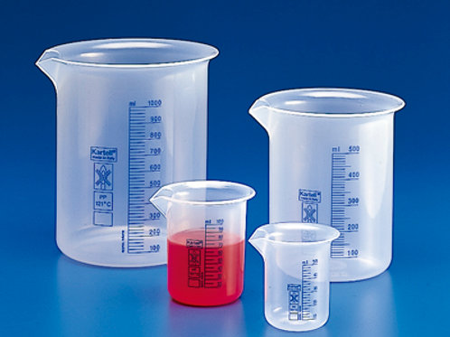 Vaso forma baja PP grad. azul, 3000 ml.