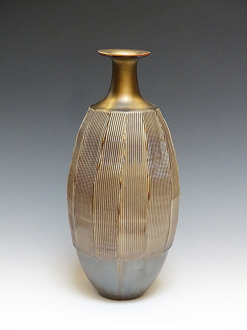 Carved Vase with Gold Glaze