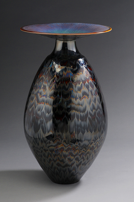 Vase with Blue Hare's Fur and Silver Glaze