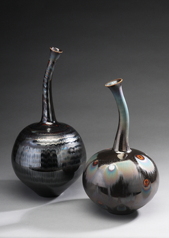 twin vase with Blue Silver Waves and Peacock Glaze