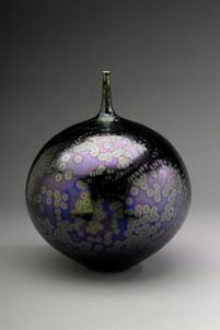Bottle with Sea Foam Purple Glaze