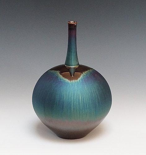 Vase with Blue Hare's Fur Glaze