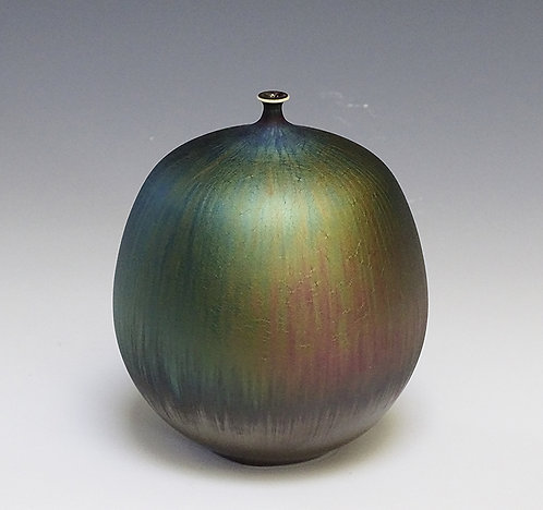 Vase with Green and Purple Hare's Fur Glaze