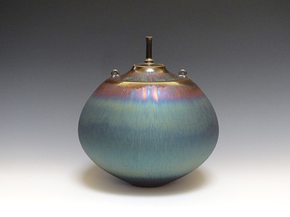 Jar with Blue Hare's Fur Glaze