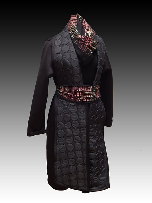 Black Fashion Neoprene Shawl collar coat with quilted dot design on collar