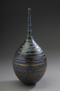 Vase with Blue Hare's Fur and Brown Glaze