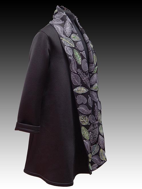 Black Fashion Neoprene Shawl Collar Coat Leave Design
