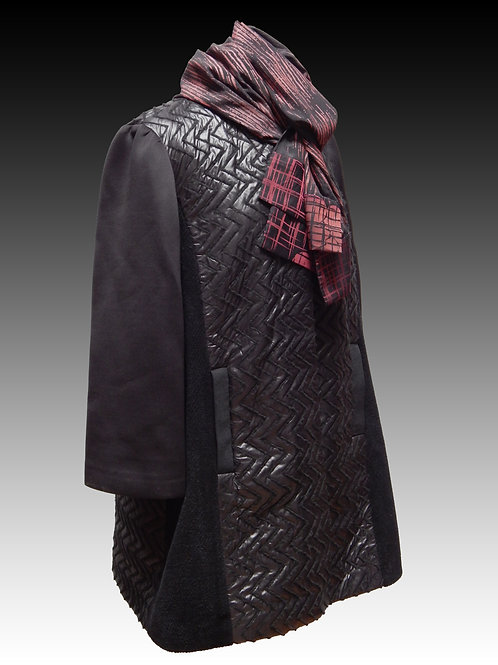 Wool and Neoprene Silk Quilted Coat