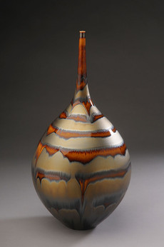 Teardrop Shaped Bottle with Gold and Brown Glaze