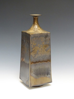 Square Vase with Brown and Gold Glaze