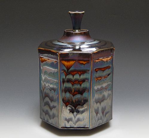 Octagon-shaped Jar with Blue Waves Glaze