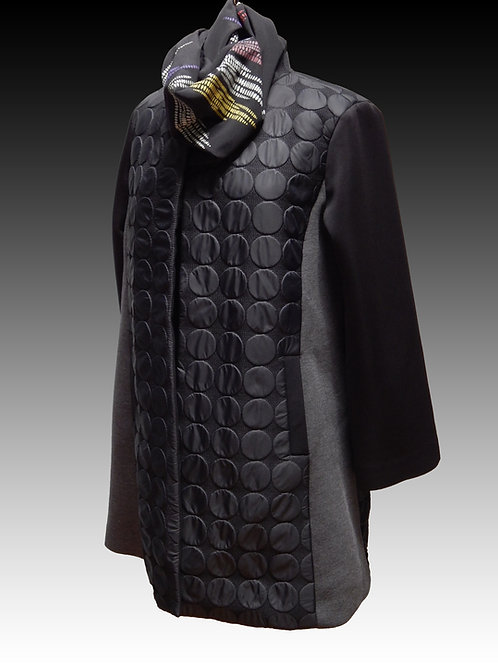 Black and Gray Jersey Backed Car length Coat with dot panels