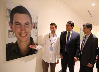 Pictures of the fallen IDF soldiers Lieutenant Hadar Goldin and Staff Sergeant Oron Shaul in Manhatt