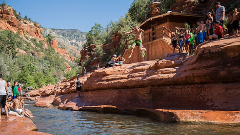 rock jumping at slide rock