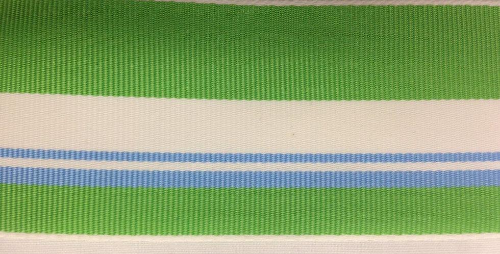 Grosgrain Ribbon. Blue and green stripe