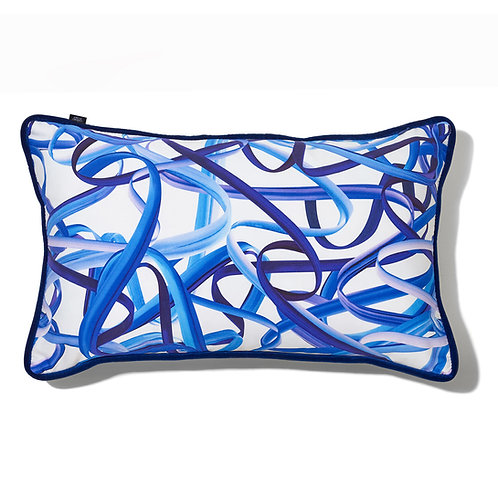 Coussin rectangle - Rubans bleu