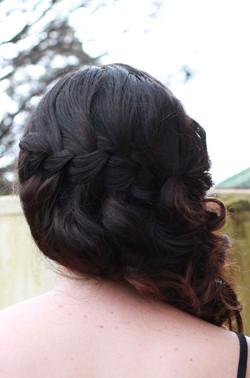 Waterfall braid curly halfdo hair