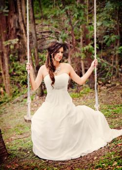 Stunning bride makeup hair half up