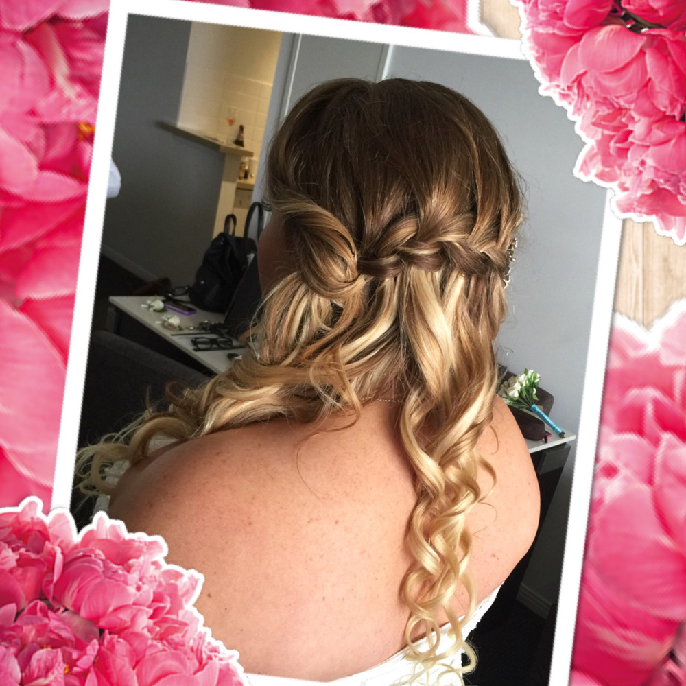 Wedding hairstyle waterfall braid