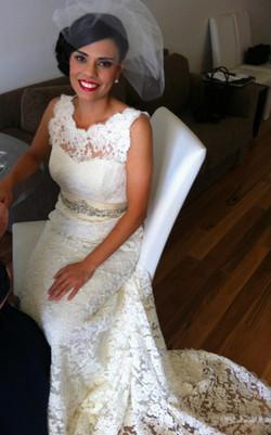 Brisbane bride side bun hair makeup