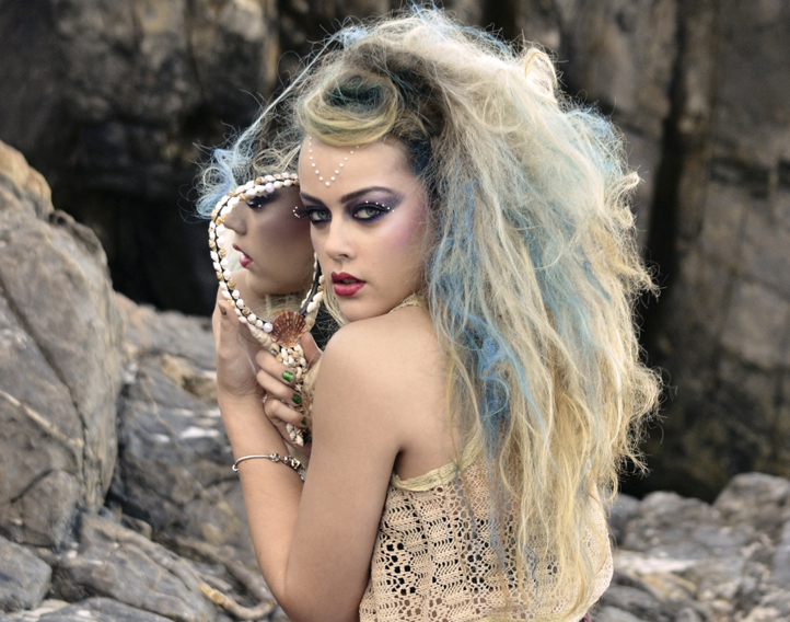 Mermaid creative makeup hair styling