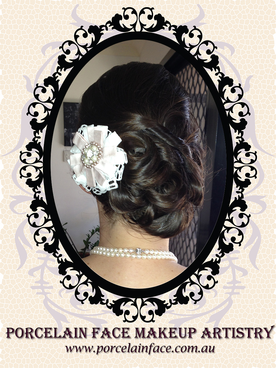 bridal hair asymmetrical chignon