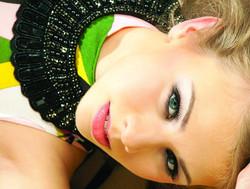 Elegant eyes makeup with pink lips