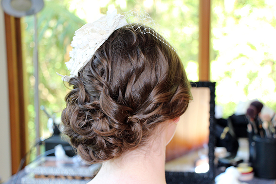 Romantic side chignon birdcage veil