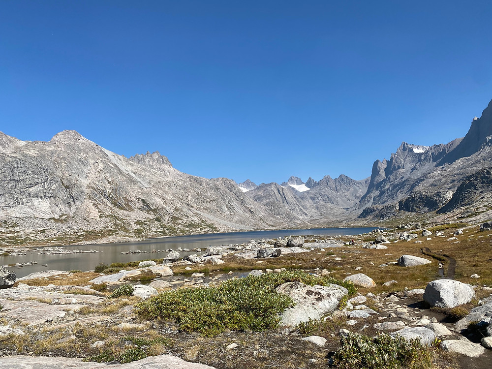 Rocky glacial remains litter Titcomb Basin in Bridger-Teton National Forest in Wyoming