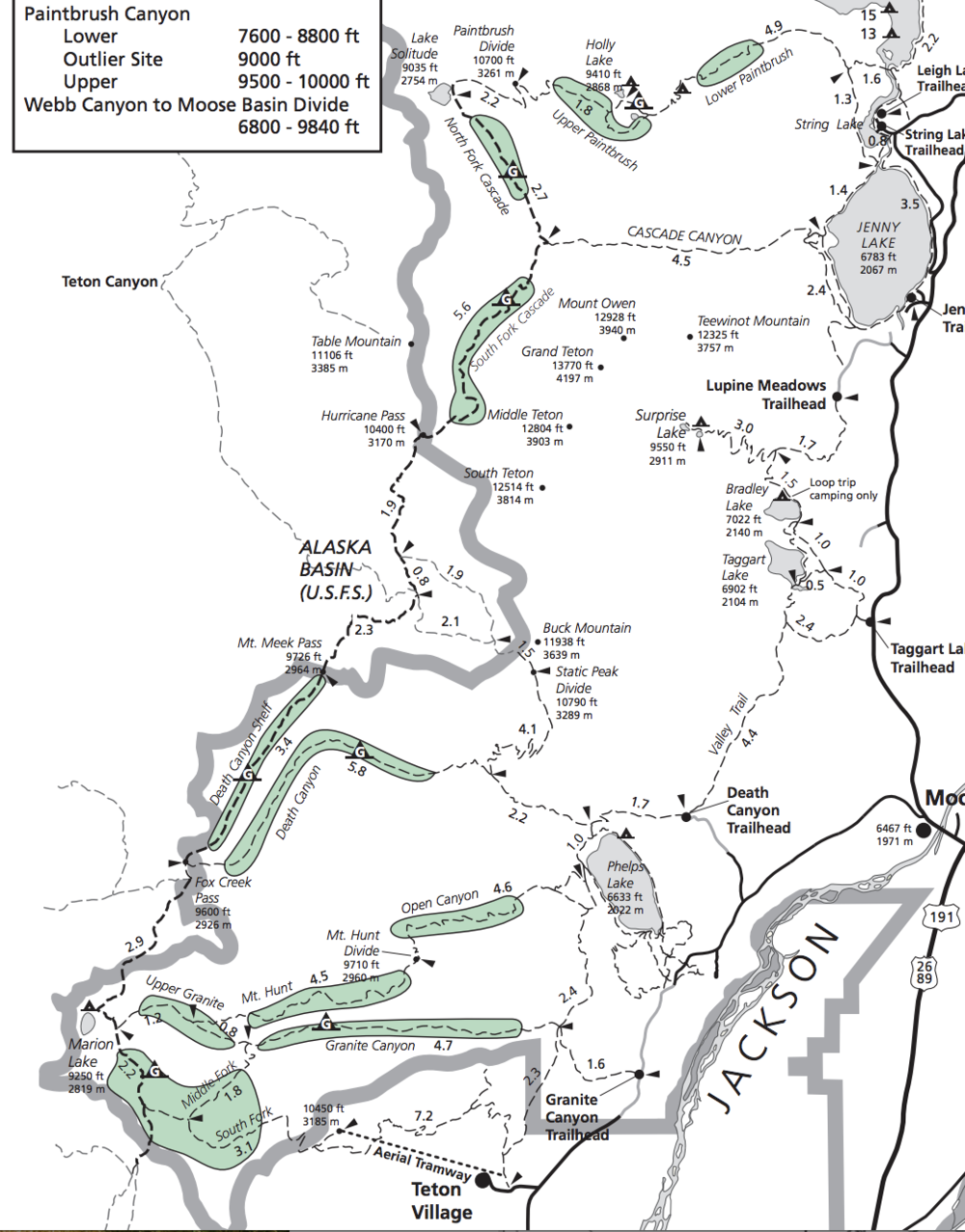 a map of the Teton Crest Trail in Grand Teton National Park, Wyoming