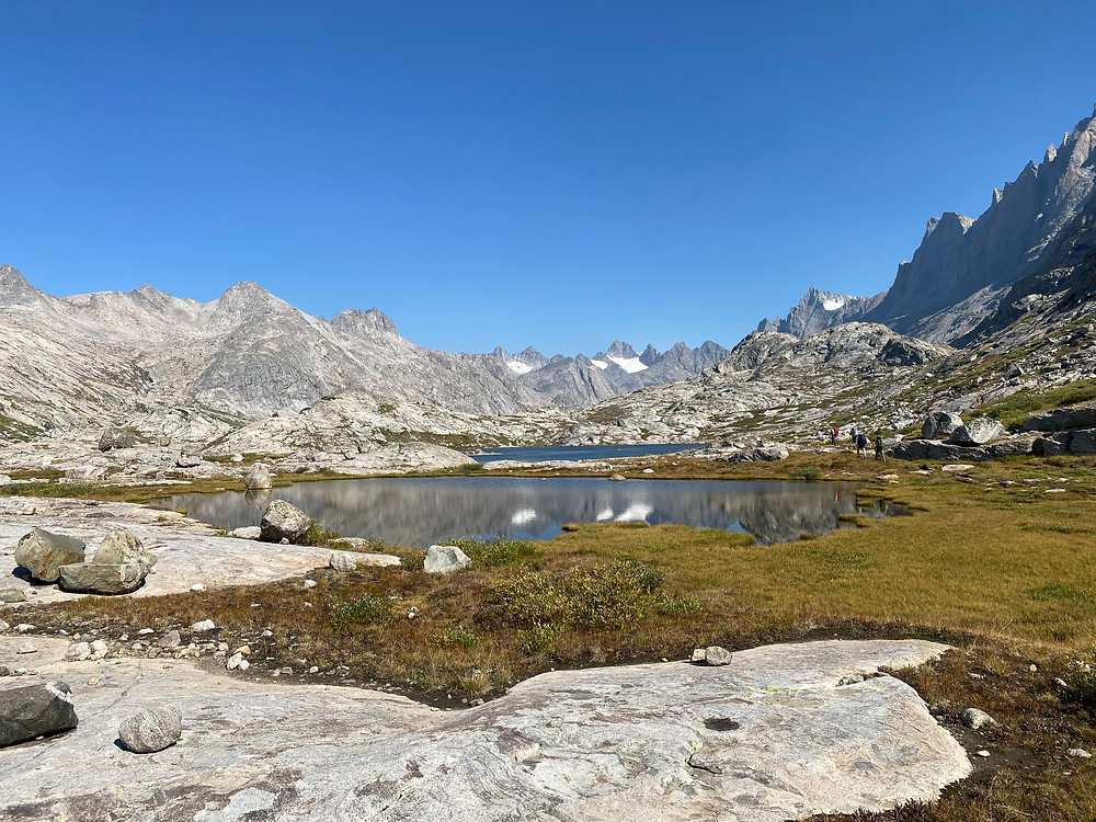 The alpine lakes leading up to Titcomb Basin in Bridger-Teton National Forest in Wyoming