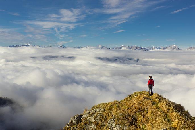 Man overlooking swiss alps in Switzerland